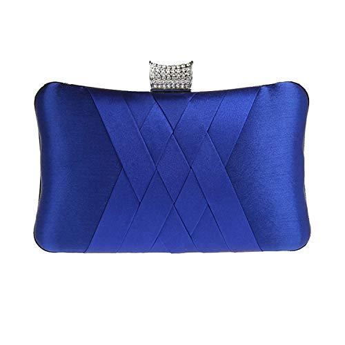 (Women's evening clutches bags,Satin Diamond Party handbags Bridal Wedding Prom Purses-sapphire 20x12x5cm(8x5x2inch))