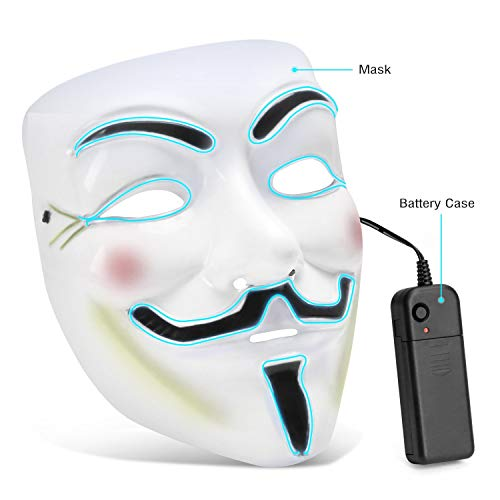 (Kuteck LED Halloween Mask - V for Vendetta Light Up Mask Scary Face Masks for Festival Cosplay Christmas Parties)