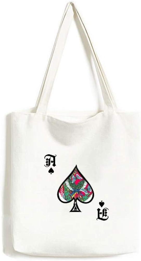 Flower Bird Leaf Pink Sky Happy Handbag Craft Poker Spade Canvas Bag Shopping Tote
