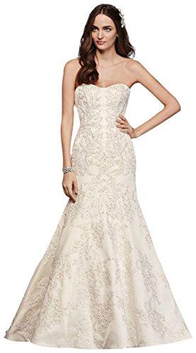 Oleg Cassini Satin Lace Strapless Wedding Dress Style CWG594