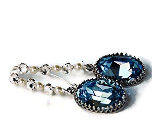 d Faux Pearl Statement Drop Earrings Sterling Silver March Birthstone Jewelry (Blue Topaz Faux Earrings)