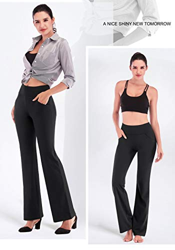 IUGA Bootcut Yoga Pants with Pockets for Women High Waist Workout Bootleg Pants Tummy Control, 4 Pockets Work Pants for Women Black