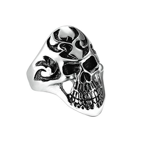Times Bible Costumes Patterns (Epinki Stainless Steel Men Silver Black Fashion Gothic Evil Skull Vintage Engraved Pattern Ring,Size)