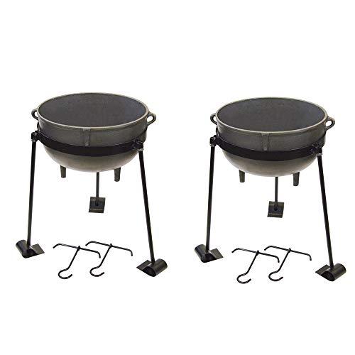 (Bayou 5 Gallon Seasoned Cast Iron Jambalaya Cooking Pot w/Lid & Stand (2 Pack))