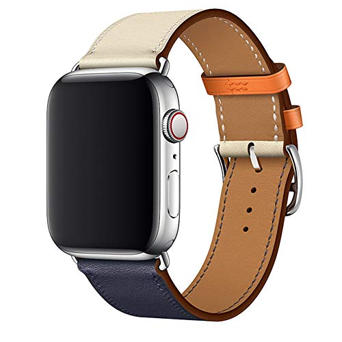 Leather Band Compatible Watch Band 40mm 44mm Soft Replacement Wrist Strap Specially Designed for Watch Series 4, Indigo/Craie/Orange Single Tour Watch Band