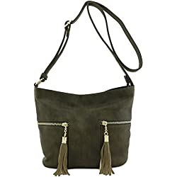Tassel Accented Double Zip Pocket Crossbody Bag Olive
