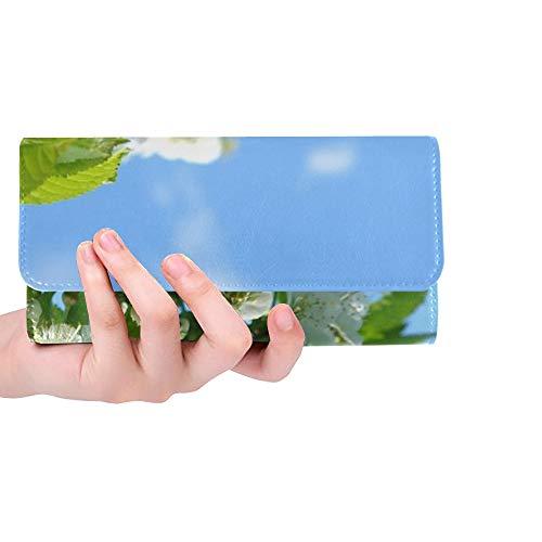 (Unique Custom Spring Flowers Nature Cherry Blossom Fruit Tree Women Trifold Wallet Long Purse Credit Card Holder Case Handbag)