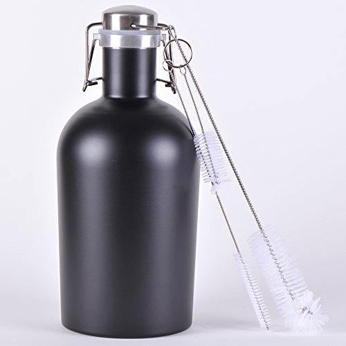 Growler X24- Stainless Steel Single with Secure Swing Top Lid - 64-Ounce - Keep Beverages Cold (L.G.) Black by Living&Giving (Image #1)