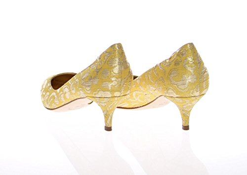 Yellow Brocade Gold Shoes Dolce Pumps Pointy Gabbana amp; fxqqIEa