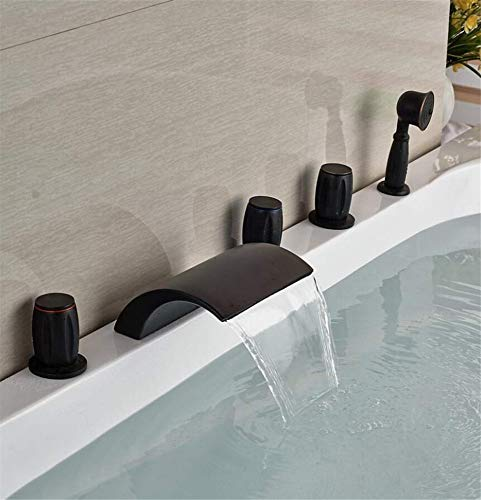 Taps Sink Taps Hot And Cold Faucet Retail Waterfall Oil Rubbed Bronze Waterfall Spout Bathroom Tub Faucet 5 Pcs Deck Mounted Hand Shower Sprayer