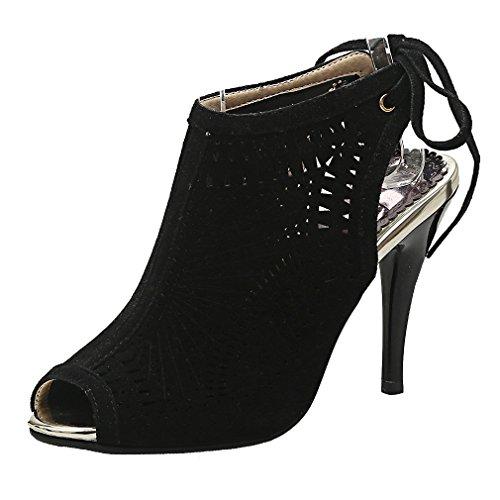 Noir Aiguille Beaux à Elegantes Toe UH de Slingback Femmes Suede Lacets Haut Sandales et Talons Peep Creux xw4SaAqZ