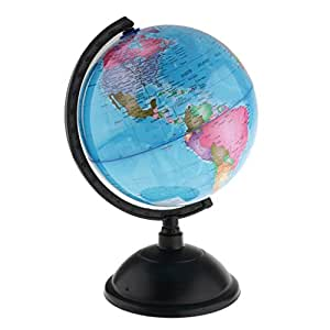 MagiDeal Spinning Interactive World Globe Kids Student Educational Learning Toys Kits - Blue, 20cm