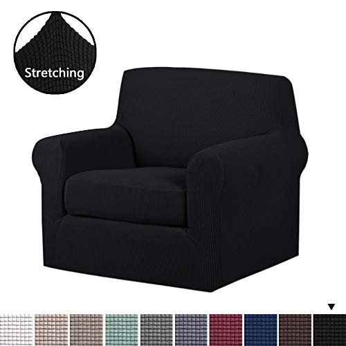 (H.VERSAILTEX 2 Piece Stretch Stylish Furniture Cover/Protector Featuring Jacquqard Textured Twill Fabric, High Spandex Lycra Slipcover Machine Washable/Skid Resistance (One Seater Chair, Black))