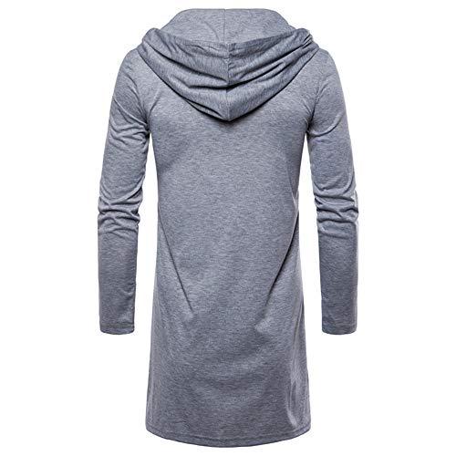 Trench Capuchon Mode Cardigan Solide Longues À Chemisier Veste Gris Manches Hommes Morchan Outwear qwIfTtw