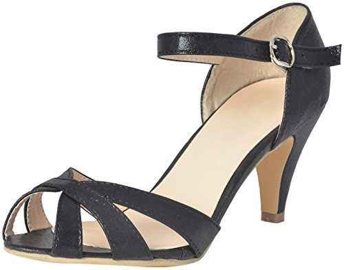 Shuberry Womens Black Faux Leather Sandals (38 EU)