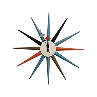 "Telechron Classic Wooden Sunburst Clock, Multi - Stylish clock to compliment your home décor Quartz Movement One ""AA"" battery required (not included). - wall-clocks, living-room-decor, living-room - 41yRA1bEStL. SS400  -"