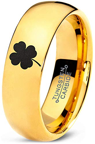 Zealot Jewelry Tungsten Lucky Charm Four Leaf Clover Band Ring 7mm Men Women Comfort Fit 18k Yellow Gold Dome Polished Size 6.5