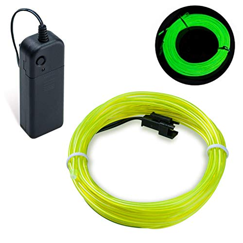 Lysignal 16ft Neon Glowing Strobing Electroluminescent Light Super Bright Battery Operated EL Wire Cable for Cosplay Dress Festival Halloween Christmas Party Carnival Decoration -