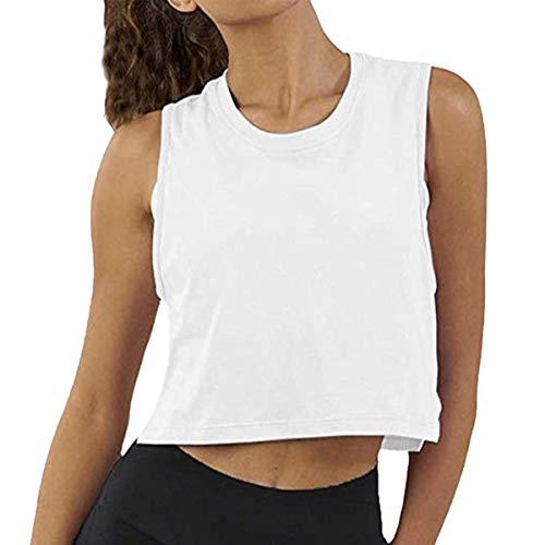 Women Summer Short-Sleeved T-Shirt Crop Top Sleeveless Racerback Workout Yoga Short Tank Top.JNINTH White (Short Tank Top)