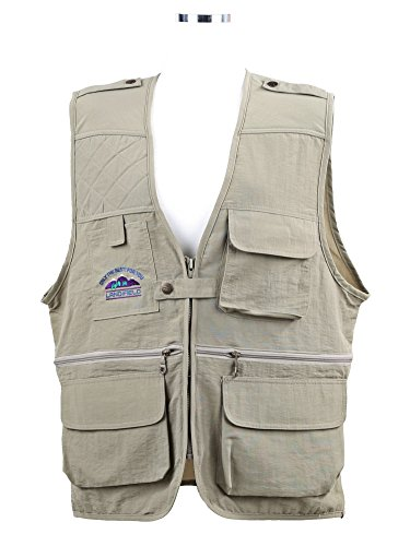 Landfield AZUSI Mens Color Quilted Puffer & Waist Adjustable Zipper Vest Jacket with Pockets to Hunting, Work, Travel from small youth boys to plus large adult size (US L (Asia XXXL), Beige)