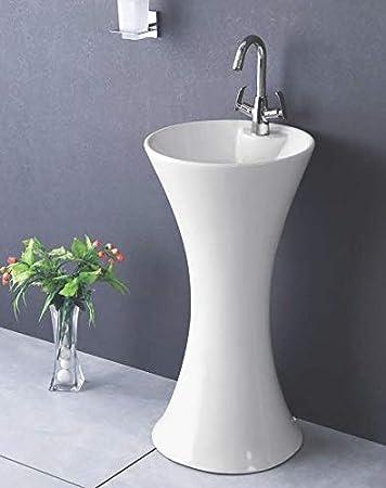Ceramic Wash Basin Bathroom Pedestal One Piece Pedestal Sink Center Faucet Hole Porcelain Vessel Sink Bowl Sink For Lavatory 16 Inch Round White Color Amazon Com
