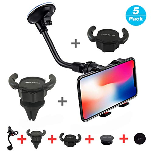 Car Phone Mount, LoyaForba Universal Phone Holder For Car Cell Phone, 360 Degrees Dashboard Desk Wall Bracket for GPS Navigation and Any Smartphone