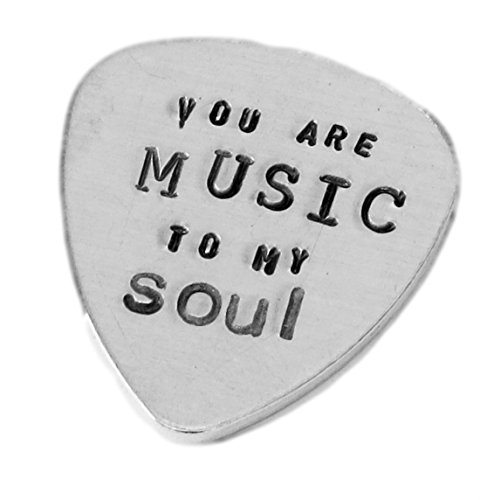 Aluminum Guitar Pick Traditional Style - Personalized Customized Hand Stamped Hammered Guitar Pick - You are Music to My Soul - Best Gift for Musician ()