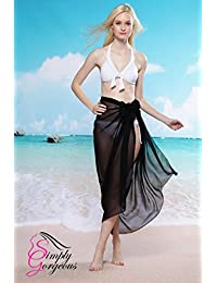Ladies Chiffon Sarong Cover-Up Wrap Kaftan Summer Beach Holiday Dress Swimwear - Black