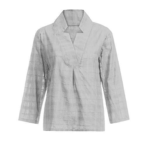 en col Chemisier Gris Femmes Coton T MuSheng Shirt Manches Longues et Vdcontract en Tops 8wzwSqp
