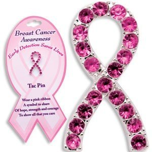Pink Ribbon Breast Cancer Awareness Tac Pin ~ 3pk ~ Pink Rhinestone Tac Pin to Show Your Support and Care ~ The card reads early detection Saves Lives ~ Wonderful Gift ~ by K&G (Care Pin Ribbon Breast)