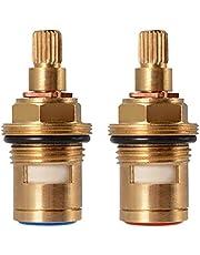 "Replacement Brass Ceramic Stem Disc Cartridge Faucet Valve Quarter Turn 1/2"" for Bathroom Kitchen Tap (1 Pair Hot & Cold)"