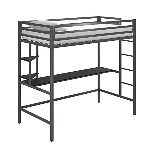 Novogratz Maxwell Metal Twin Loft Desk & Shelves, Gray/Black Bunk Beds,