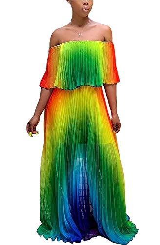 MarcoJudy Women's Off Shoulder Tie Dye Rainbow Ombre Maxi Pelated Chiffon Dress (XX-Large, Green)