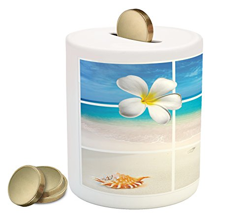 Beach Piggy Bank by Lunarable, Collection of Seaside Pictures from the Caribbean Island Aruba Tree Flower Seashell, Printed Ceramic Coin Bank Money Box for Cash Saving, Beige Blue