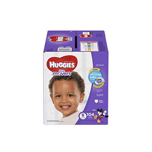 HUGGIES Little Movers Diapers, Size 6, For over 35 lbs., Box of 152 Baby Diapers for Active Babies, Packaging May Vary