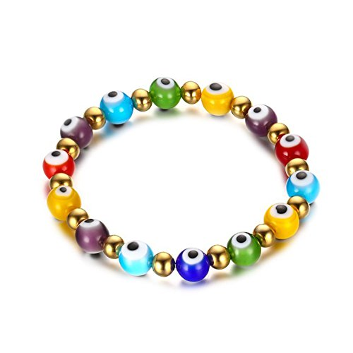 OMZBM Evil Eye Beaded Bracelet Gold Plated Charm Stainless Steel Color Glass Eyeball Stretch Wristband Jewelry for Women and Girl 8Mm
