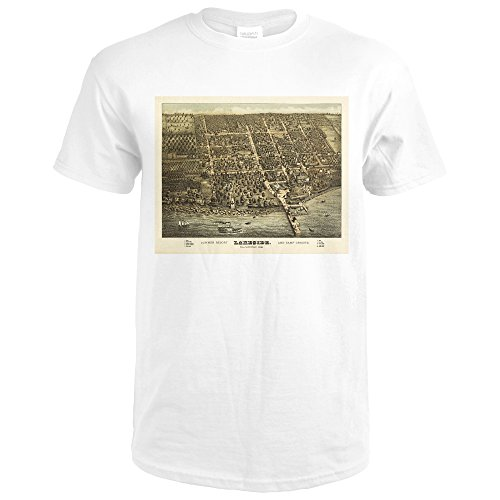 Lakeside, Ohio - Panoramic Map (Premium White T-Shirt - Map Lakeside Shops