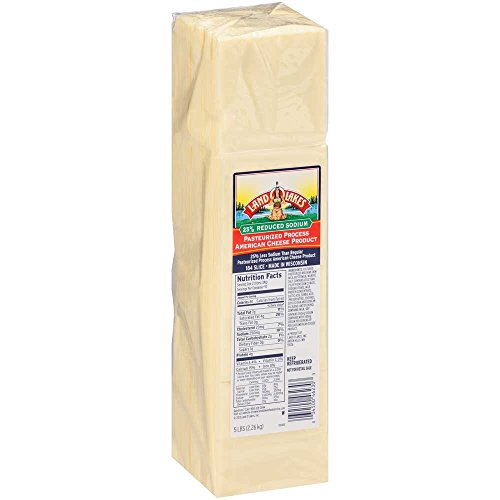 Land O Lakes White 184 Slice Reduced Sodium Process American Cheese Product, 5 Pound -- 6 per case.