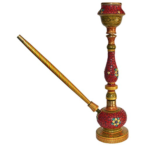 Beautiful Stone Artwork on Wooden Teak Wood HOOKAH / Wooden Working Condition Hookah by Surya