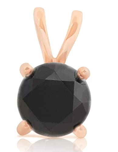 Prsim Jewel 0.75 Carat Round Brilliant Cut Prong Set Black Diamond Solitaire Pendant Yellow Gold Plated Silver