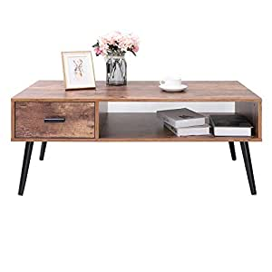 Coffee Table Desk.Iwell Mid Century Modern Coffee Table With 1 Drawer And Storage Shelf For Living Room Cocktail Table Tv Table Rectangular Sofa Table Office Table