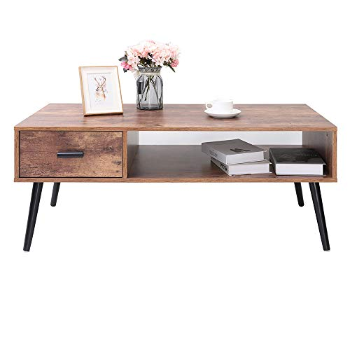 IWELL Mid-Century Coffee Table with 1 Drawer and Storage Shelf for Living Room, Cocktail Table, TV Table, Rectangular Sofa Table, Office Table, Solid Elegant Functional Table, Easy Assembly CFZ004F (Wooden Table Drawers With Coffee)