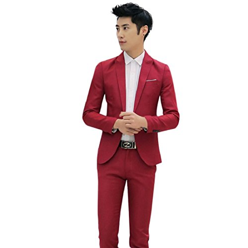 GONKOMA Charm Men's One Button Suit Blazer Coat Jacket Casual Slim Fit Tops Fashion Outwear (S, Red) by GONKOMA