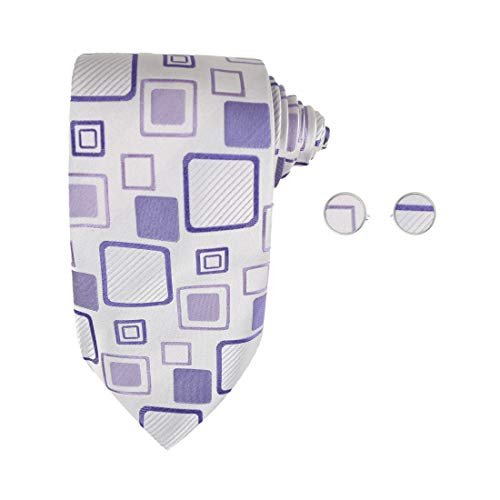 Purple Plaid Designer Ties for Men Fathers Day Gifts Italian Style Silk Tie Cufflinks Set A1003 One Size Purple,white,blue