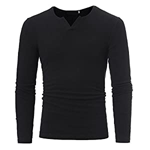 Challyhope Man Autumn Winter Casual V-Neck Slim Fit Beefy Solid Sweaters Tops Blouse