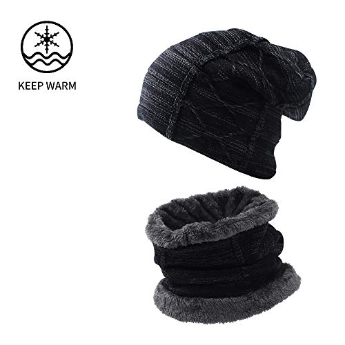 XIAOHAWANG Winter Hat Scarf Set Warm Knit Beanie Thick Scarves Fleece Lining Slouchy Crochet Skull Cap for Men Women Adults(Black 2)