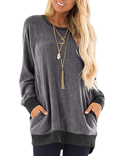 Womens Color Block Long Sleeve Round Neck Pocket T Shirts Blouses Sweatshirts Tops S Dark Gray ()