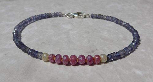 JP_Beads Sapphire Bracelet, Pink Sapphire Bracelet, Ruby Bracelet, Iolite Bracelet, Dainty Bracelet, Gemstone Bracelet, Blue Bracelet 3.5 mm