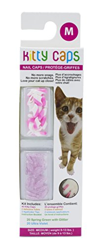 Kitty Caps Kitty Caps Nail Caps for Cats   Safe & Stylish Alternative to Declawing   Stops Snags and Scratches, Medium (9-13 lbs), White with Pink Tips & Clear with Pink Glitter