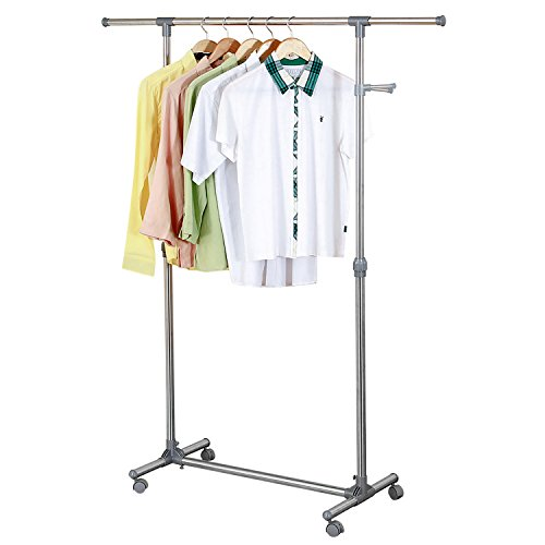 Ollieroo Stainless Steel Telescopic Rolling Garment Rack Clothing Rack (Single Rail) 2' Pole Mount